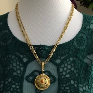 "2/$20 Double Chain 21"" Gold Tone Pendant *L2L*"